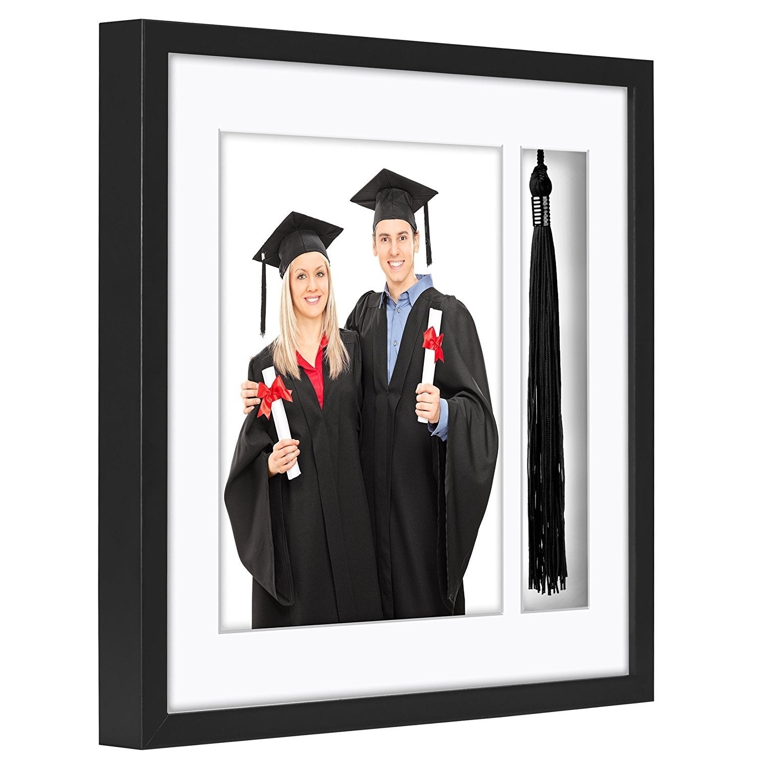 Americanflat Black Tassel Frame Made To Display 8x10 Inch Photo And Standard Sized Tassel Shadow Box 1 5 Inches Deep Overstock 21666156