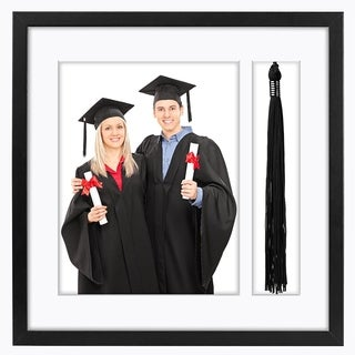 Black Tassel Frame - Made to Display 8x10 inch Photo and Standard Sized Tassel. Shadow Box, 1.5-inches Deep