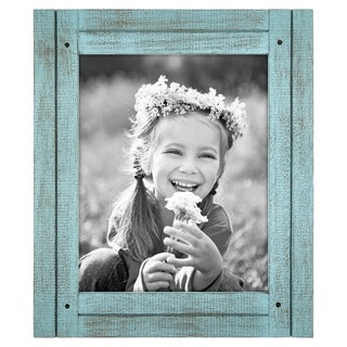 Americanflat 8x10 Turquoise Blue Distressed Wood Frame - Made to Display 8x10 Photos - Hang or Stand With Built in Easel