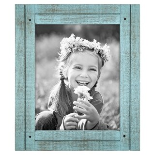 8x10 Turquoise Blue Distressed Wood Frame - Made to Display 8x10 Photos - Ready To Hang or Stand With Built in Easel