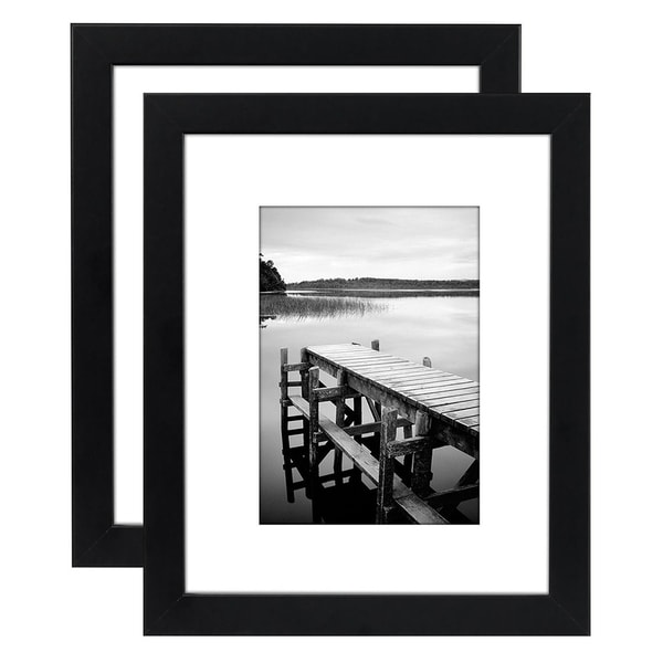 Americanflat 2-Pack, 8x10 Black Picture Frames - Made to Display Pictures 5x7 with Mats or 8x10 Without Mats