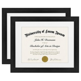 2-Pack, 11x14 Black Document Frames - Made for Documents Sized 8.5x11 Inch with Mat and 11x14 Inch without Mat