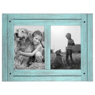 Americanflat Blue 5x7 Collage Distressed Wood Frame - Made to Display 5x7 Photos - Ready To Hang or Stand With Built in Easel…