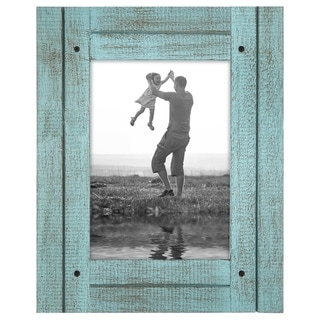 Americanflat 5x7 Turquoise Blue Distressed Wood Frame - Made to Display 5x7 Photos - Ready To Hang or Stand With Built in Easel
