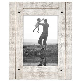 Americanflat 5x7 Aspen White Distressed Wood Frame - Made to Display 5x7 Photos - Ready To Hang or Stand With Built in Easel