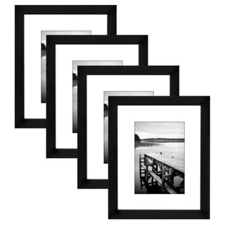 Americanflat 4-Pack, 8x10 Black Picture Frames - Made to Display Pictures 5x7 with Mats or 8x10 Without Mats…