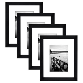 4-Pack, 8x10 Black Picture Frames - Made to Display Pictures 5x7 with Mats or 8x10 Without Mats