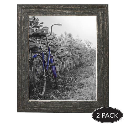 Americanflat 2-Pack, 8x10 inch Barnwood Rustic Picture Frame with Easel, Made for Wall and Table Top Display