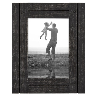 Americanflat 5x7 Charcoal Black Collage Distressed Wood Frame - Made to Display 5x7 Photos - Hang or Stand With Built in Easel