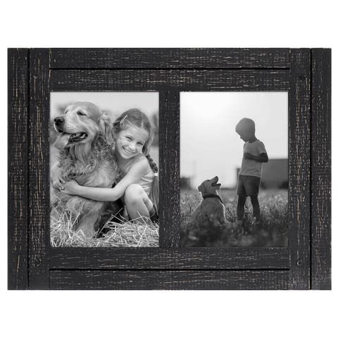 Americanflat 5x7 Charcoal Black Collage Distressed Wood Frame - Made to Display Two 5x7 Photos