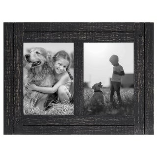 5x7 Charcoal Black Collage Distressed Wood Frame - Made to Display Two 5x7 Photos - Ready To Hang or Stand With Built in Easel