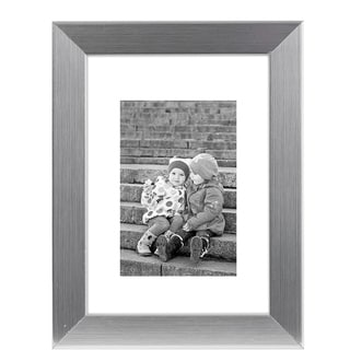 Americanflat 8x10 Silver Picture Frame - Made to Display Pictures 5x7 with Mat or 8x10 Without Mat - Standing Hardware Included