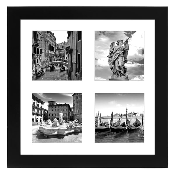 Americanflat Top Rated Black Collage Picture Frame, Made for Four Photos Sized 4x4 Inch, Smartphone Collection, Glass Size 10x10