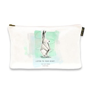 Oliver Gal 'Maggie P Chang - Origami Rabbit Blue Green' Pouch