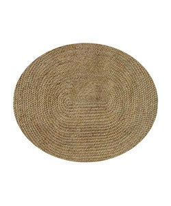 Hand-woven Braided Natural Jute Rug (6' Oval)