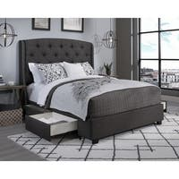 Peyton Grey Fabric Upholstered Tufted Wingback Storage Bed
