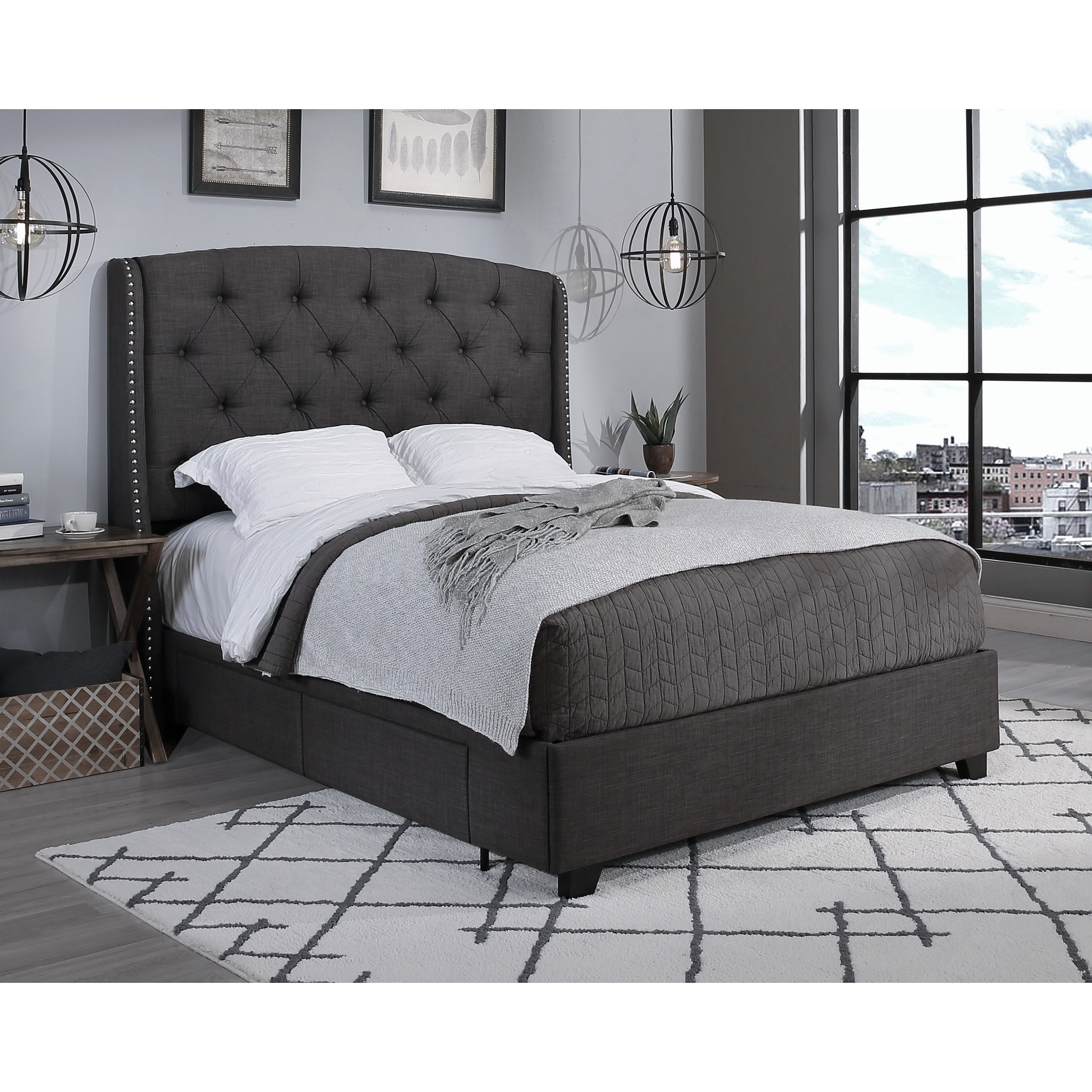 Storage Underneath Gas Lift Base Double Ottoman Bed Double 4ft 6 inch Grey Upholstered Fabric Frame with Headboard /& Footboard Complete Set Assembly Video Included
