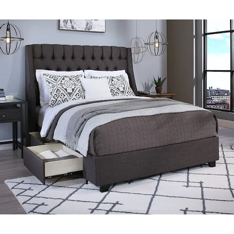 Cambridge Upholstered Tufted Wingback Storage Bed