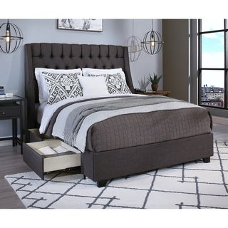 Cambridge Upholstered Tufted Wingback Storage Bed (4 options available)