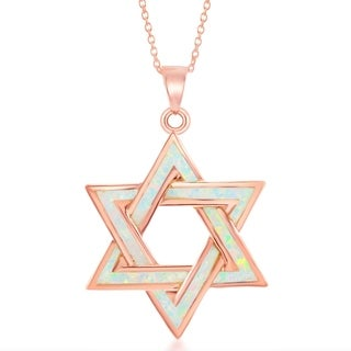 La Preciosa Sterling Silver Rose Gold Star of David 18'' Pendant Necklace