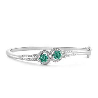JewelonFire 0.75 Ct. Genuine Emerald & Accent White Dia SS Heart Bangle