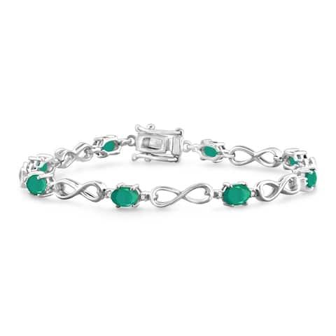 JewelonFire Genuine Emerald & Accent Dia SS Infinity Bracelet