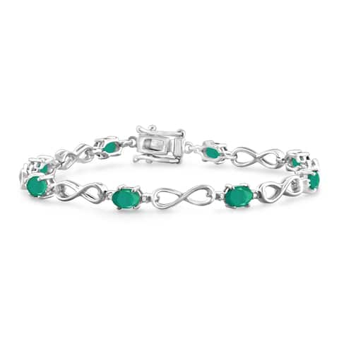 JewelonFire Genuine Emerald & Accent Dia SS Infinity Bracelet