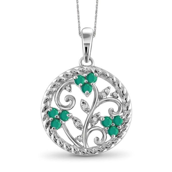 2662811e93ad3a JewelonFire 0.50 Carat Genuine Emerald & Accent White Diamonds Sterling  Silver Life of Tree Pendant