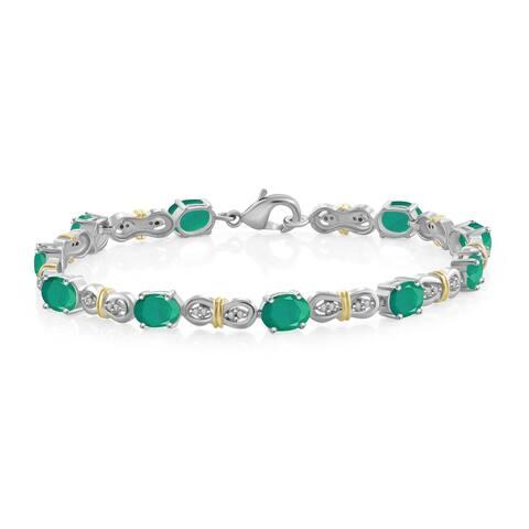 JewelonFire 7.15 Ct. Genuine Emerald & Accent White Dia 2-tone Silver Link Bracelet