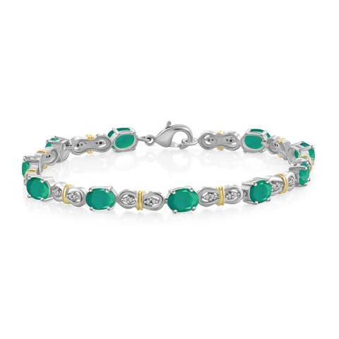 JewelonFire 7.15 Ct. Genuine Emerald & Accent White Dia 2-tone Silver Link Bracelet