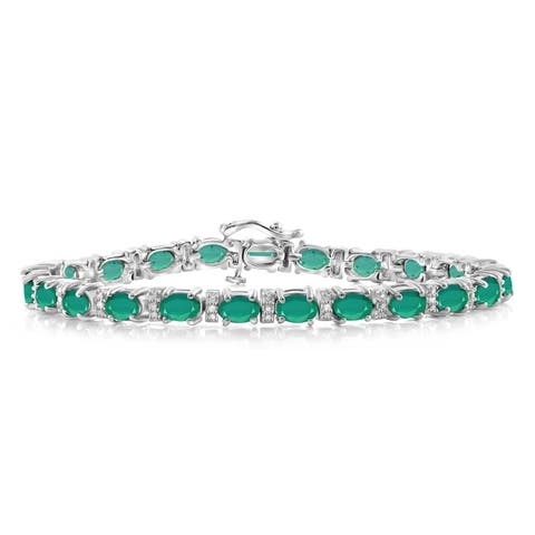 JewelonFire Genuine Emerald & Accent White Dia SS Link Bracelet