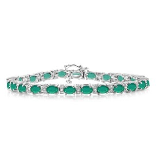 JewelonFire 8.65 Ct. Genuine Emerald & Accent White Dia SS Link Bracelet