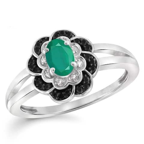 JewelonFire 0.40 Carat Genuine Emerald & 1/10 Ctw Black and White Diamond Sterling Silver Ring
