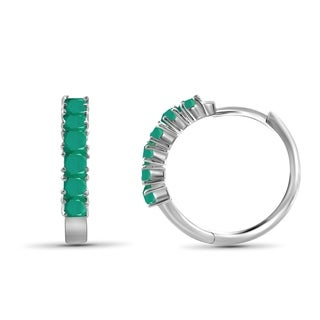 JewelonFire 1.70 Carat Genuine Emerald Sterling Silver Hoop Earrings - Green (2 options available)