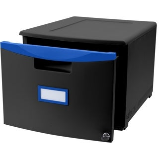 Storex One Drawer Mini File Cabinet with Lock and Casters, Legal/Letter Size, Black/Blue