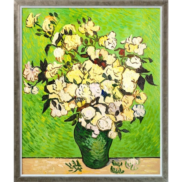 Vincent Van Gogh 'Vase with Roses' Hand Painted Oil Reproduction