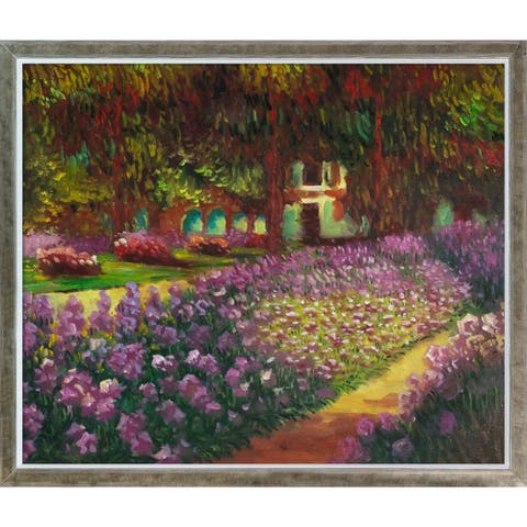Claude Monet 'Artist's Garden at Giverny' Hand Painted Oil Reproduction (As Is Item)