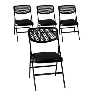 COSCO Commercial Fabric Seat Folding Chair with Mesh Back 4 pack