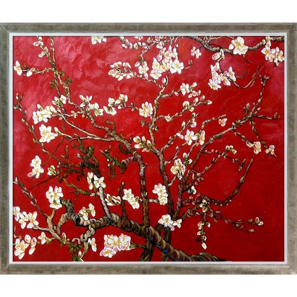 Vincent Van Gogh 'Branches of an Almond Tree in Blossom, Ruby Red' Hand Painted Oil Reproduction. Opens flyout.