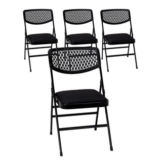 Link to COSCO Commercial Vinyl Seat Folding Chair with Mesh Back 4 pack Similar Items in Home Office Furniture