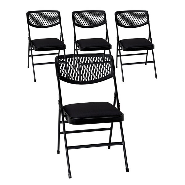 COSCO Commercial Vinyl Seat Folding Chair with Mesh Back 4 pack