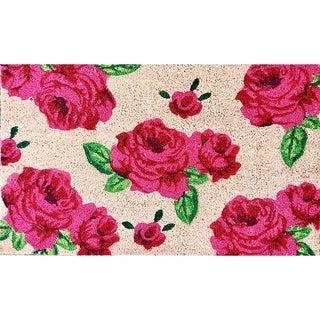 """Unbelievable Mats 18""""x30"""" Pink Roses Door Mat"""