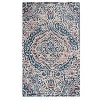 """Unbelievable Mats 20"""" x 32"""" Navy Faded Traditional Accent Rug - 20"""" x 32"""""""