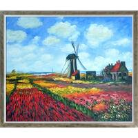 Claude Monet 'Tulip Field with the Rijnsburg Windmill' Hand Painted Oil Reproduction