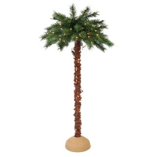 Puleo International Pre-Lit Artificial Palm Tree with 150 UL-Listed Lights