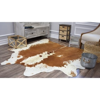 Rugs America Nash Brown/White Cowhide Area Rug - 6'x8'