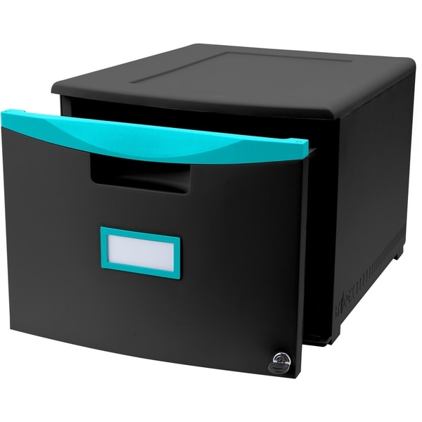 Storex One Drawer Mini File Cabinet with Lock and Casters, Legal/Letter Size, Black/Teal - N/A