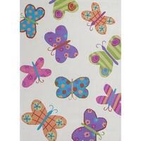 KAS Kozy Kids Ivory Butterflies Rug - 7'6 x 9'6