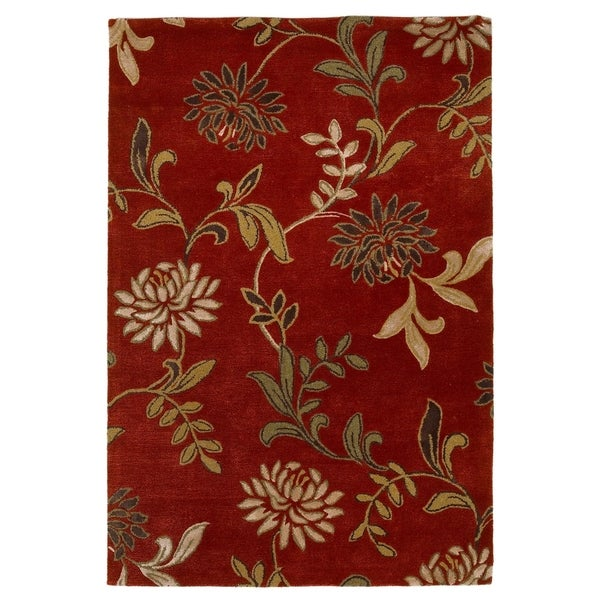 Shop Kas Florence Red Floral Rug 8 X 10 Free