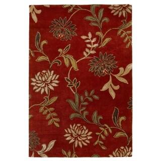 KAS Florence Red Floral Rug - 8' x 10'
